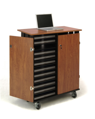 24 Capacity Laptop Charging and Storage Cart By Oklahoma Sound - Wild Cherry / Black