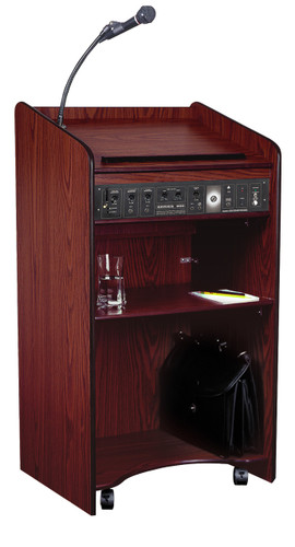 Wired Aristocrat Floor Lectern By Oklahoma Sound (OK-6010) Mahogany - 2 Colors