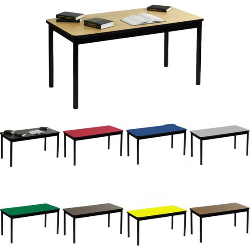 """Correll Library Table with High Pressure Laminate Tops 29"""" Height-USA Made - USA - 7 Sizes - 8 Colors"""