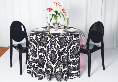 Alterio Black & White Damask Tablecloth Linen - 10+Sizes-10+Colors-20+Free Ship