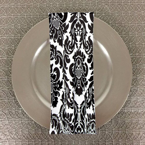 Dozen (12-pack) Alterio Black & White Damask Table Napkins (SS-NAPKIN-ALTERIO) - 20+Free Ship