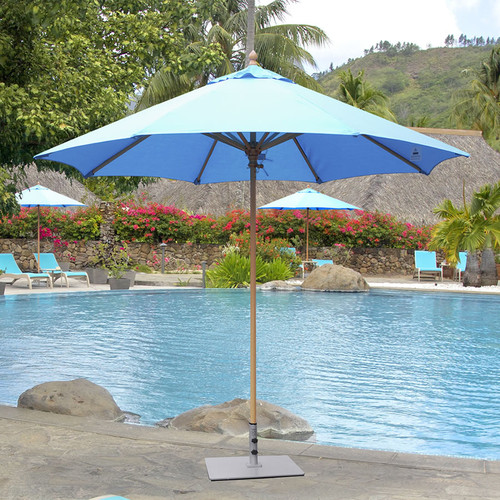 Galtech 9-ft. Wood Umbrella With Manual Lift, Model 136 - Free Shipping - 10+ Colors