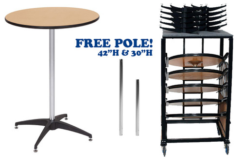 """10 Pack Bundle 36"""" Round Premier Series Plywood Pedestal Cocktail Table With Storage Dolly - Free Shipping - 2 Sizes"""
