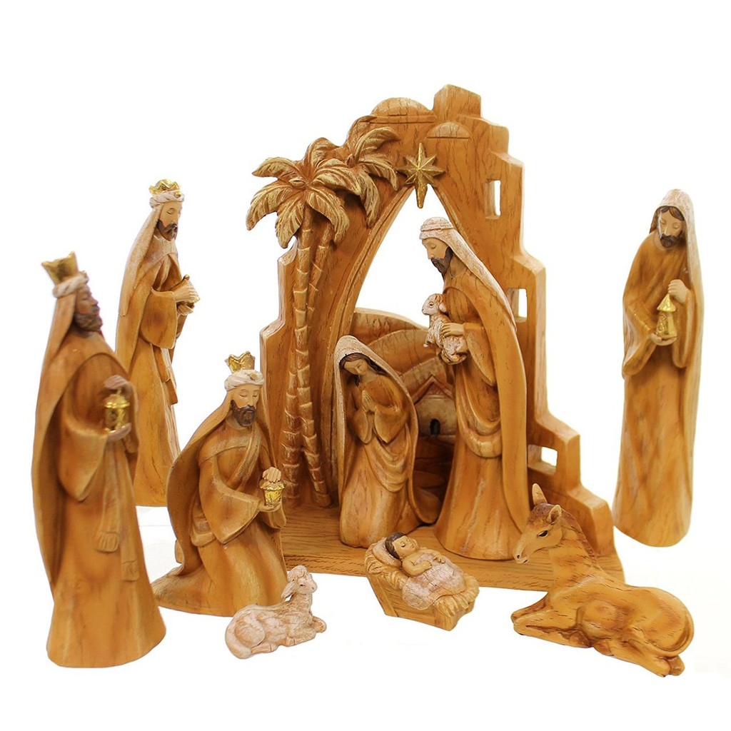 "12"" Carved Nativity Scene with Backdrop and Faux Wood Grain"