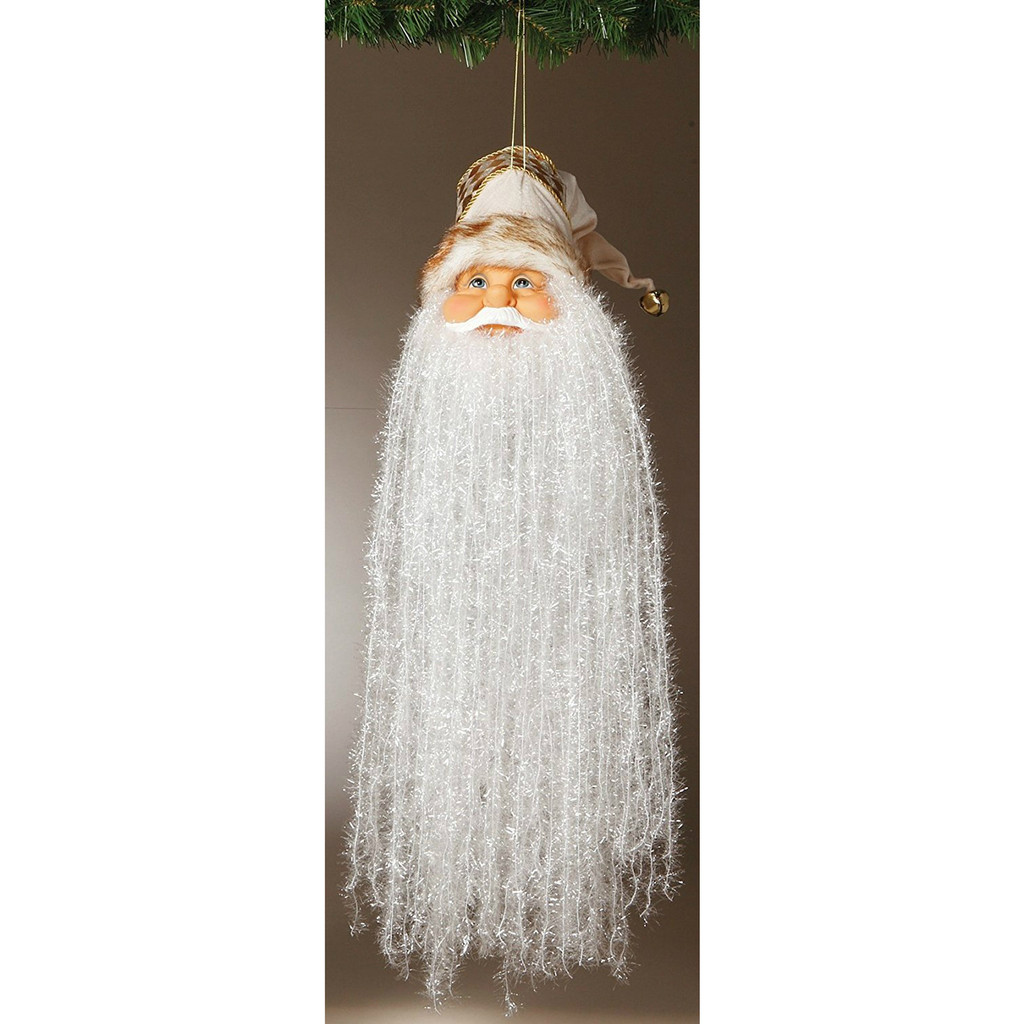 """18"""" Bearded Santa Head with Cream and Gold Hat Ornament"""