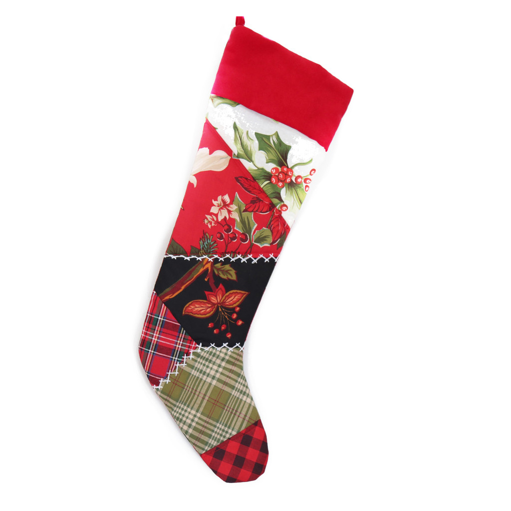 PATCHWORK QUILT CHRISTMAS STOCKING WITH FESTIVE MIX PATTERNS