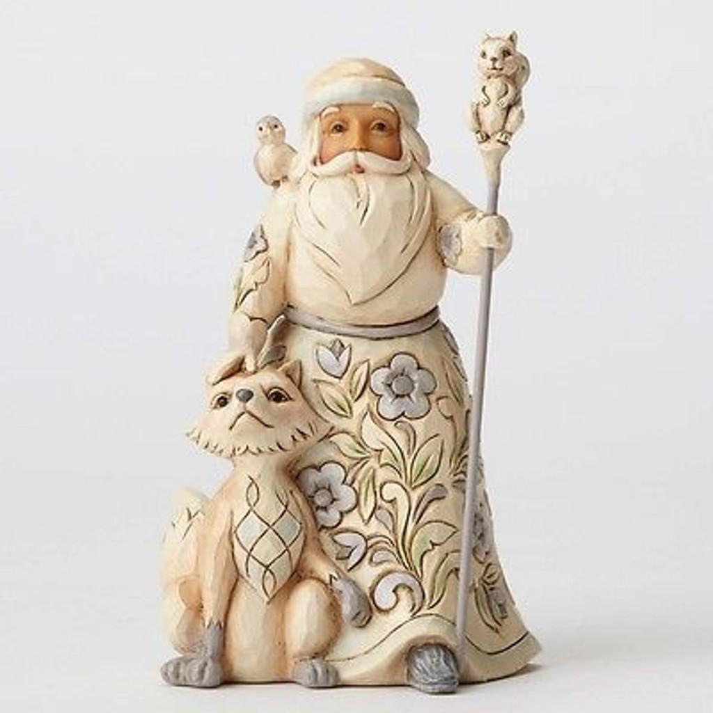 Jim Shore Heartwood Creek - White Woodland Pint Size Santa with Fox