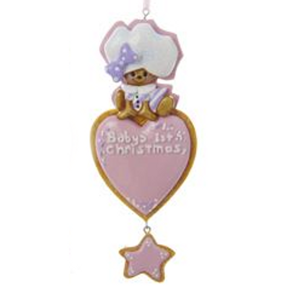 Personalizable -  Baby's First Christmas Gingerbread Heart Pink Ornament