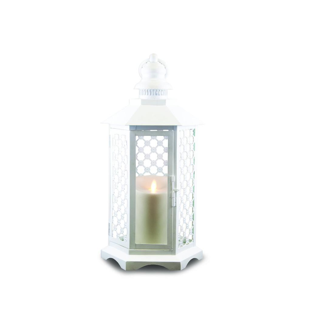 White Lattice Lantern by Luminara- 16 inches