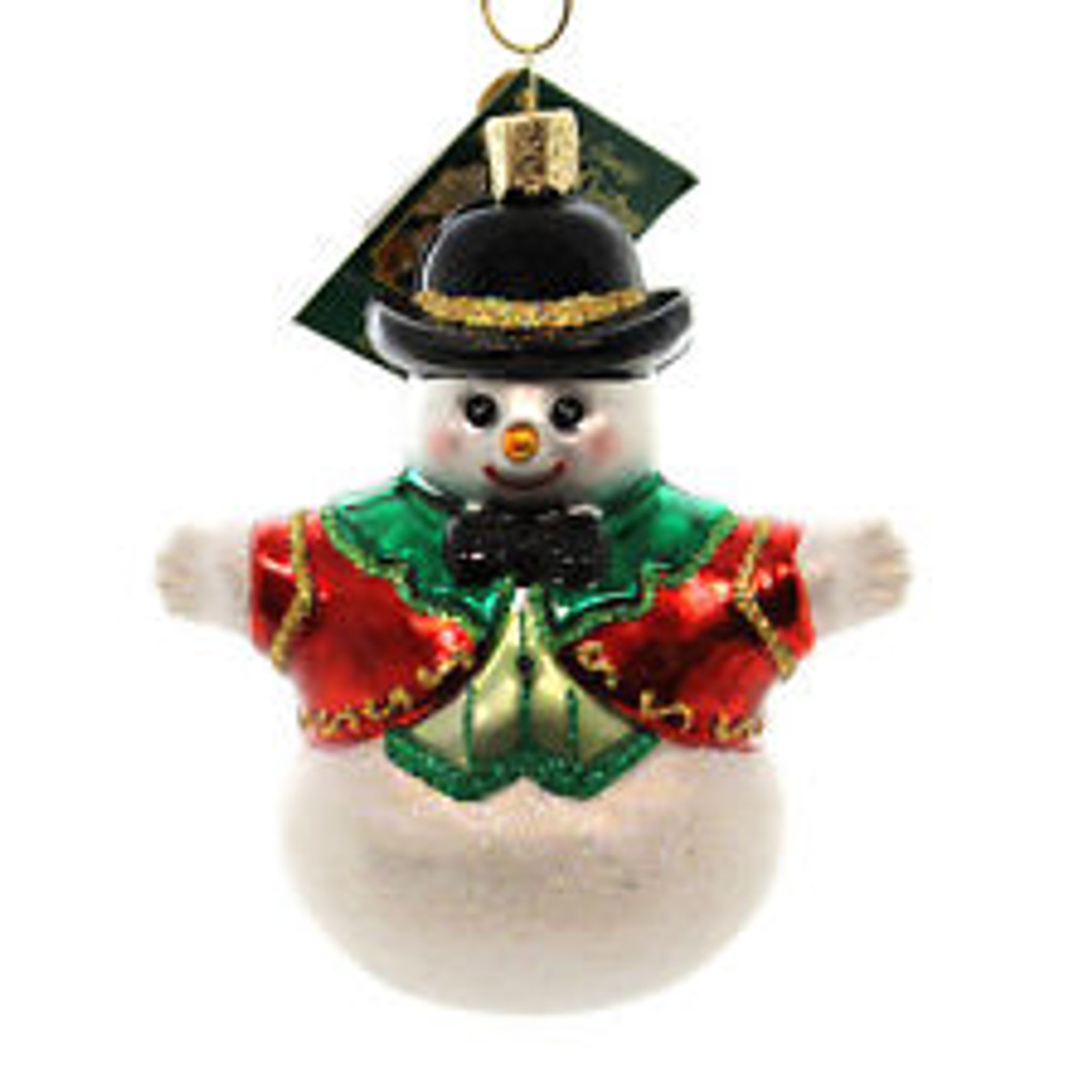 Old World Glass -Bowler Hat Snowman  Ornament