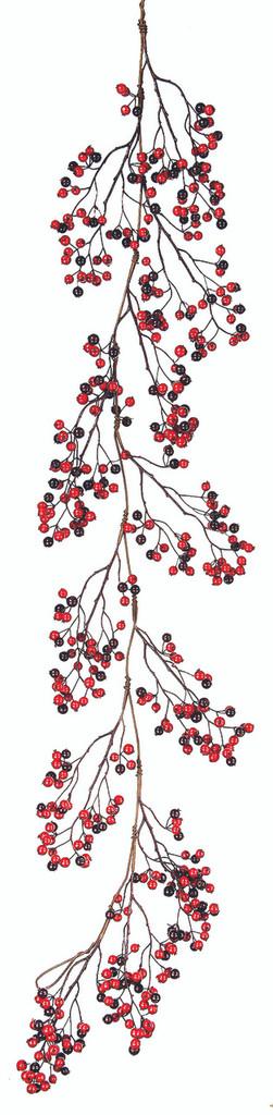 MINI CRABAPPLE, BERRY GARLAND 60'' RED AND BURGUNDY
