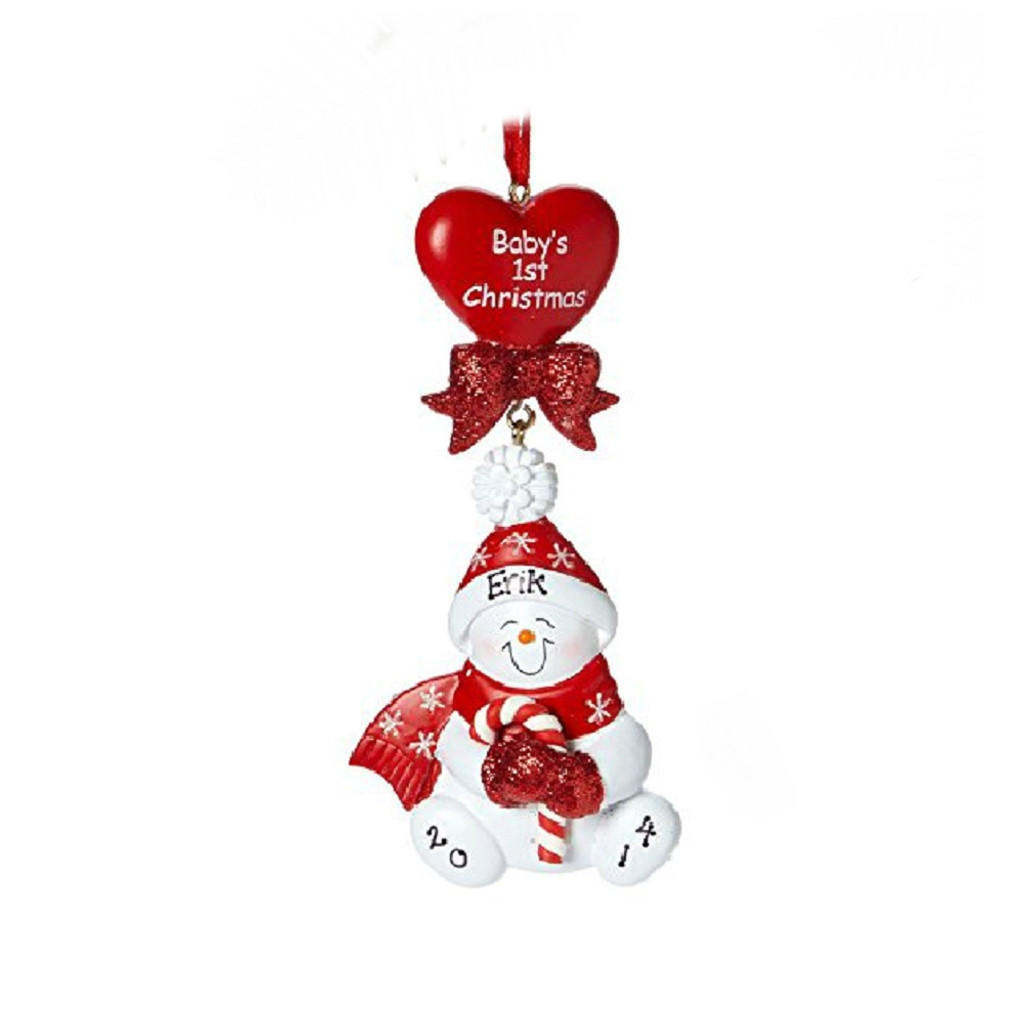 FREE PERSONALIZATION * Baby's First Christmas Candy Cane Snowman
