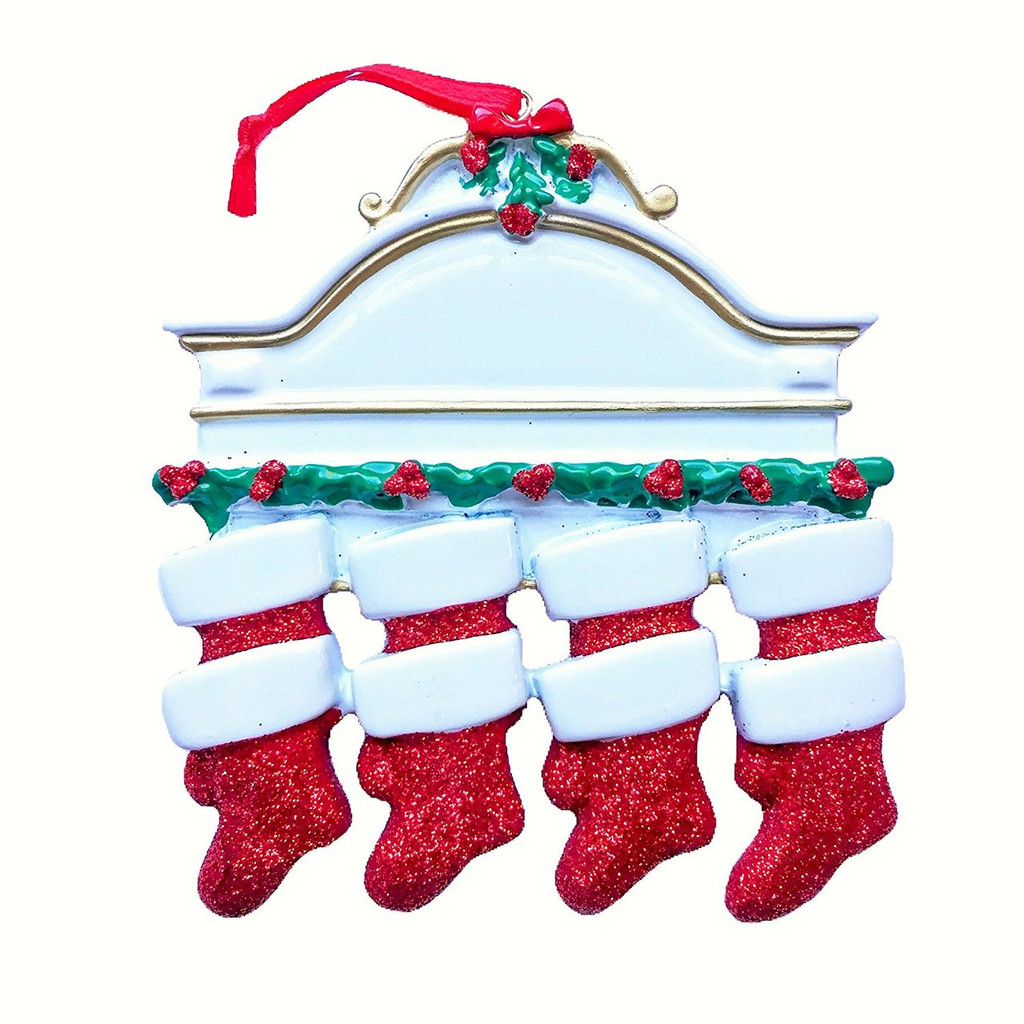 Free Personalization*  White Mantle with 8 Glittering Red Stockings Ornament