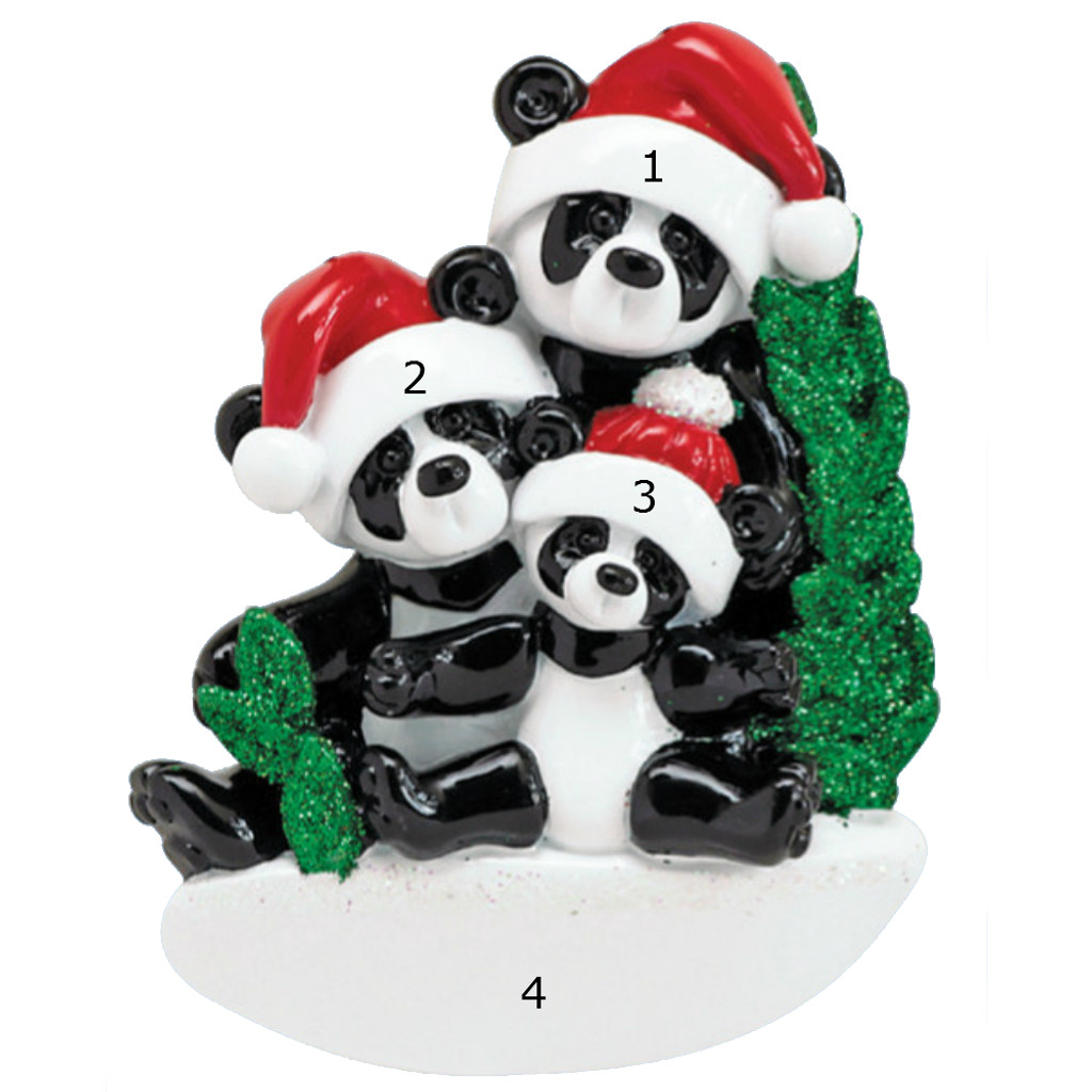 *New for 2017* Free Personalization - Bamboo Panda Family of 3 Ornament
