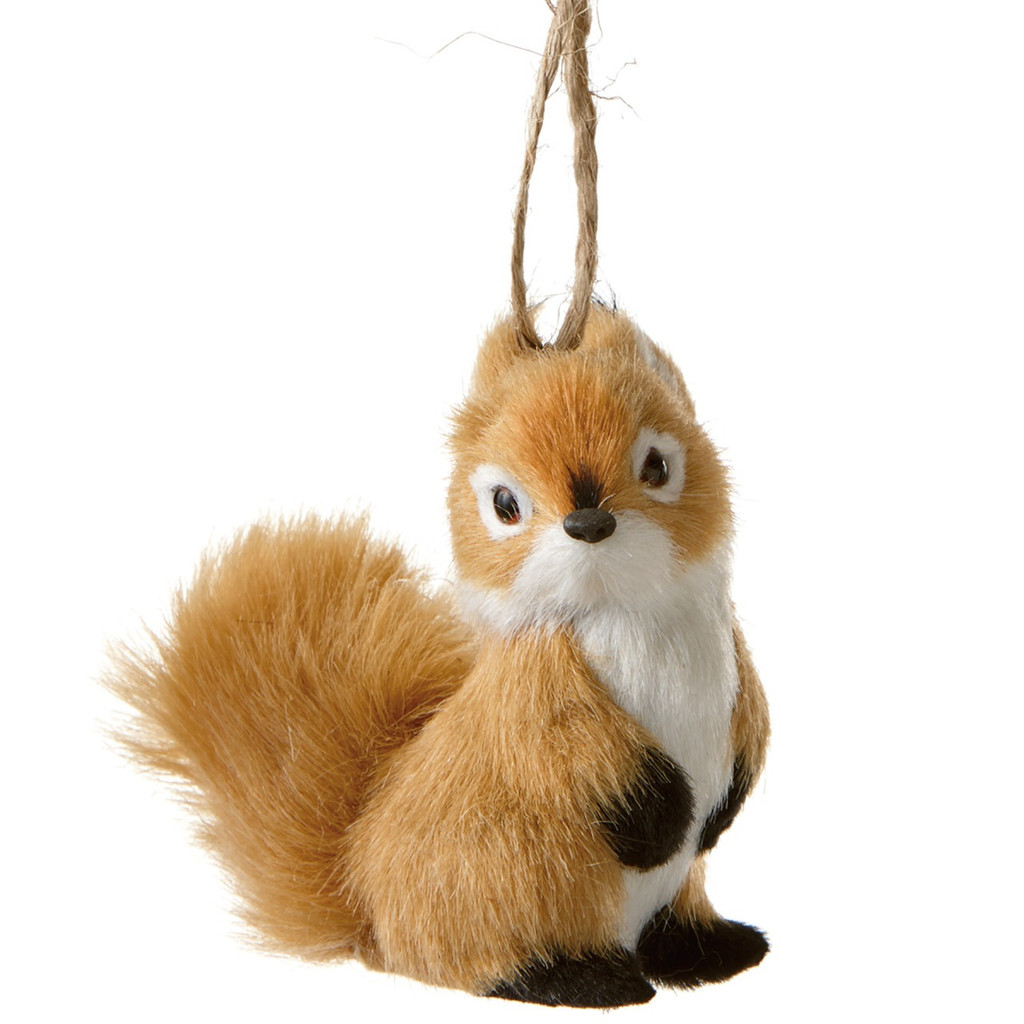 Furry Tail Brown Squirrel Ornament