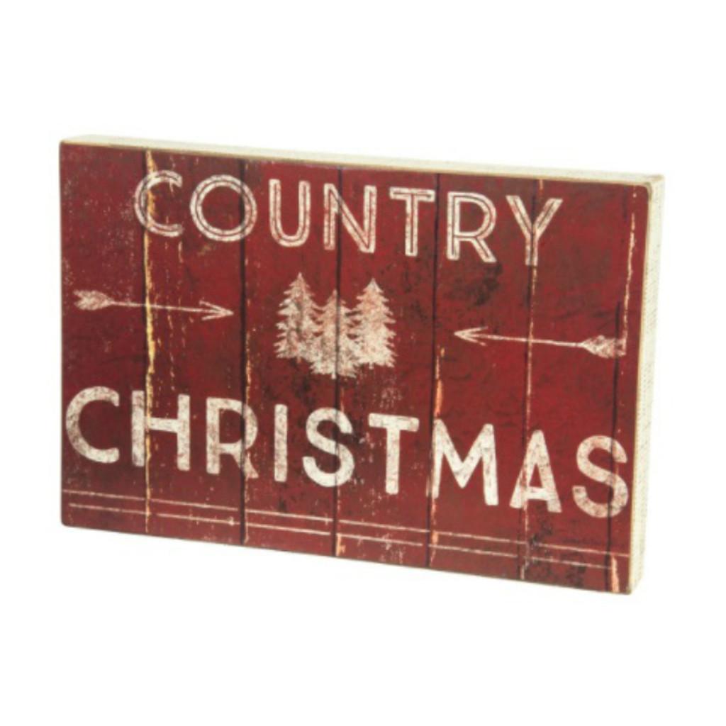Country Christmas Box Sign