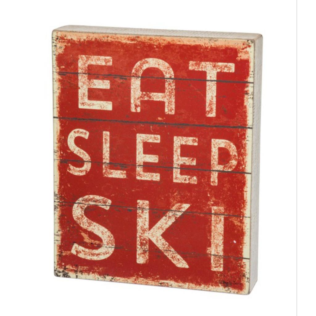Eat Sleep Ski Box Sign