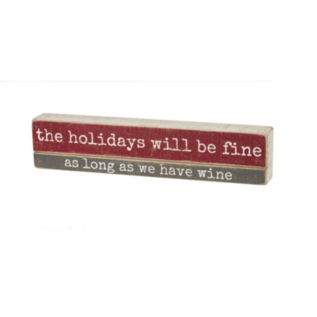 Fine with Wine Slated Box Sign