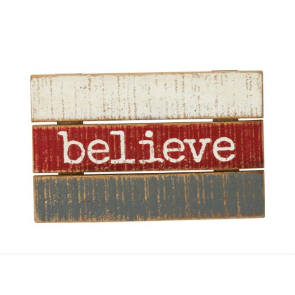Believe Slat Box Sign