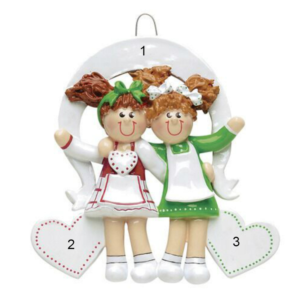 Free Personalization - 2 Sisters or Friends Ornament