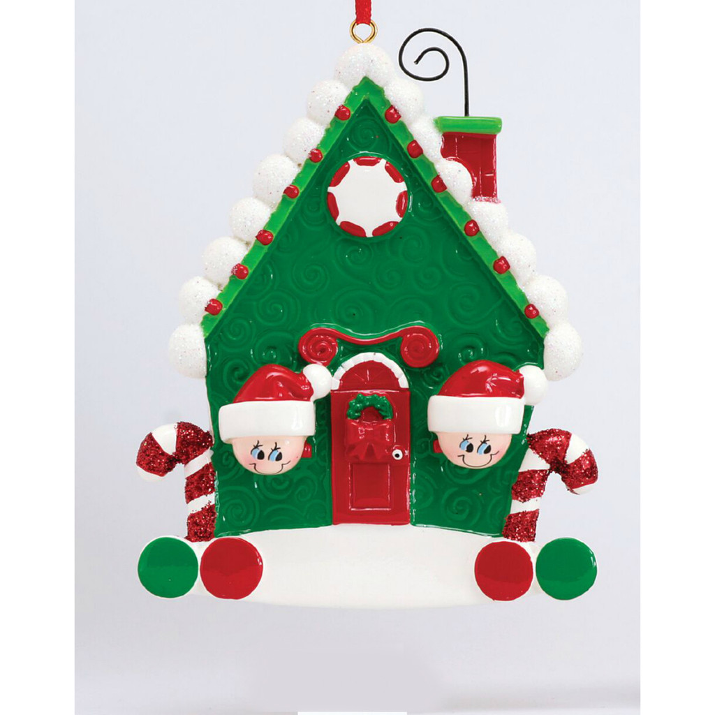 *New for 2017* Free Personalization - Candy Cane House of 2 Ornament