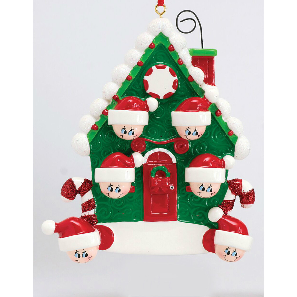 *New for 2017* Free Personalization - Candy Cane House of 6 Ornament