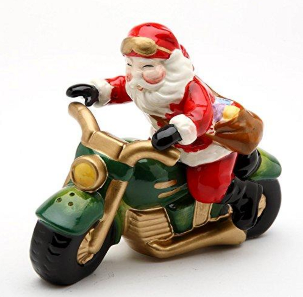 Santa and Motorcycle Salt and Pepper Shakers