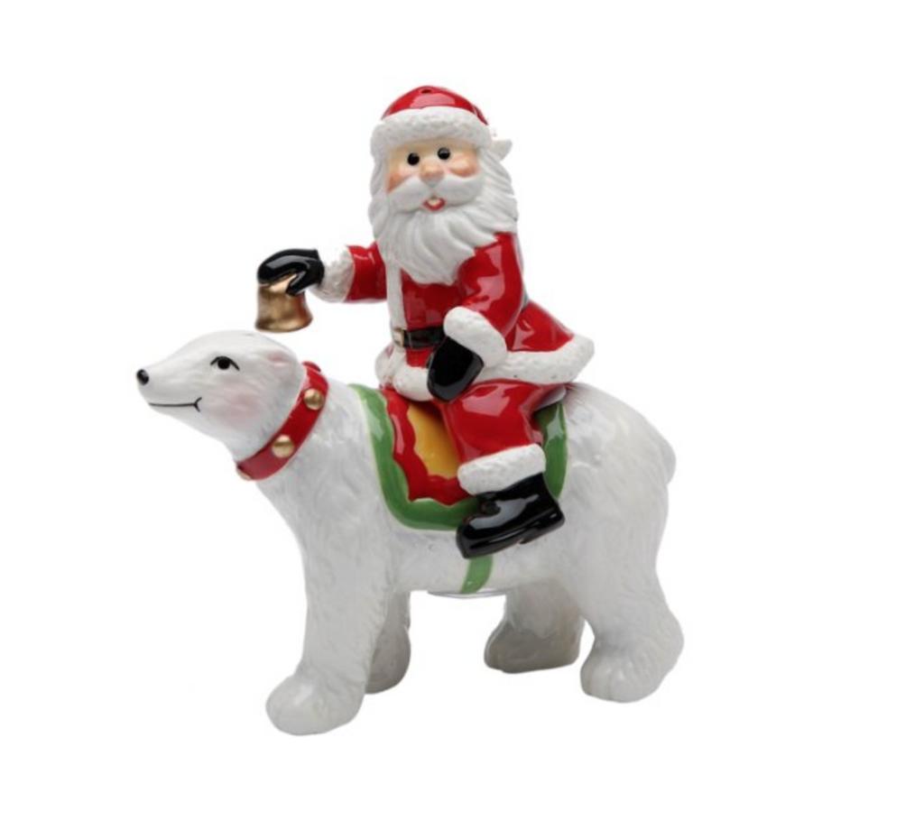 Santa Riding Polar Bear Salt and Pepper Set