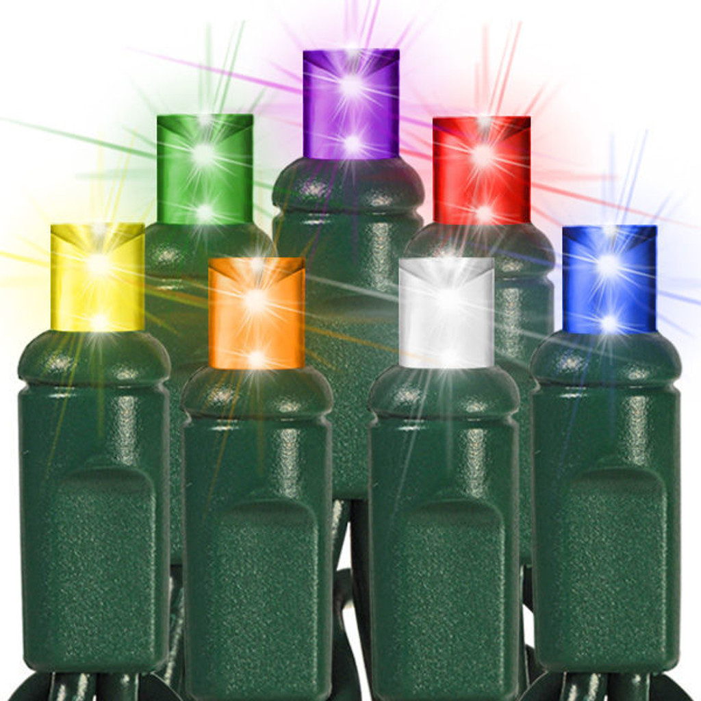 25 FT - 7 MULTI COLORED FROSTED  - STRING LIGHTS - LED 5MM WIDE ANGLE (50 LEDS) -  ON GREEN WIRE