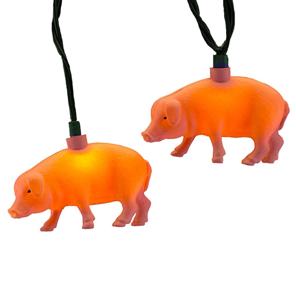 10 Little Pigs on a String of Christmas Lights
