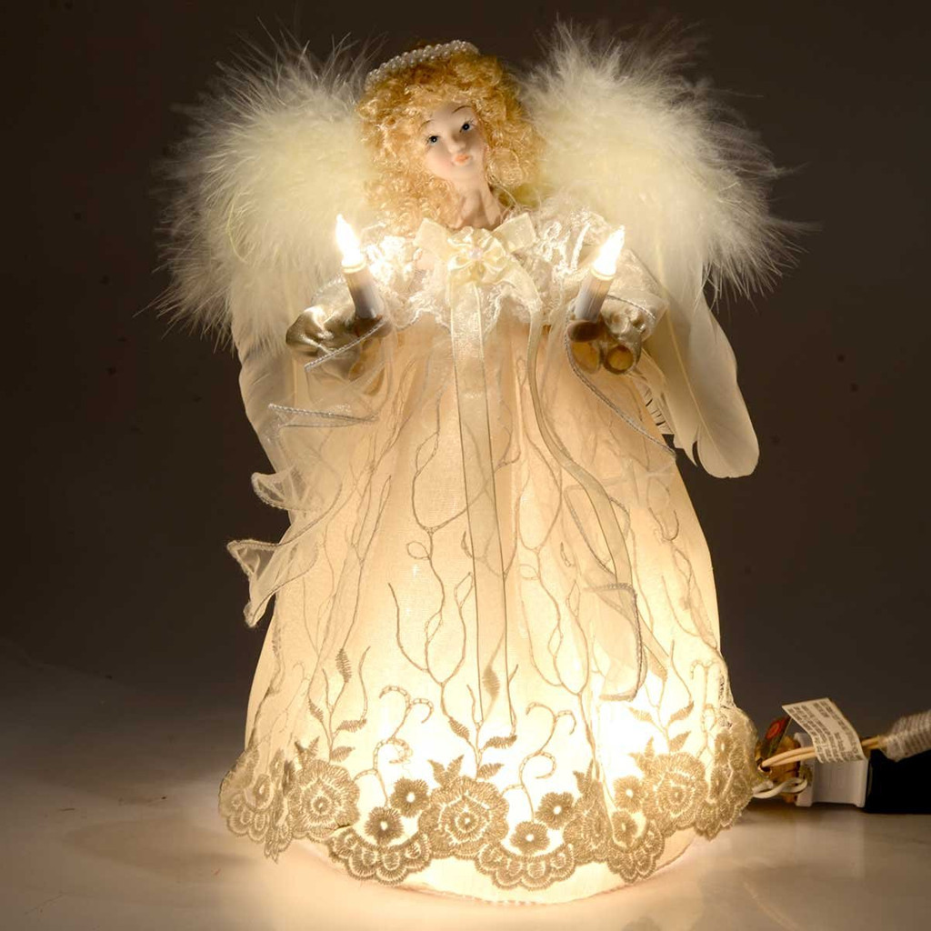 12in Lit White Lace And Curly Hair Angel Christmas Tree Topper  - Christmas Tree Angel Toppers