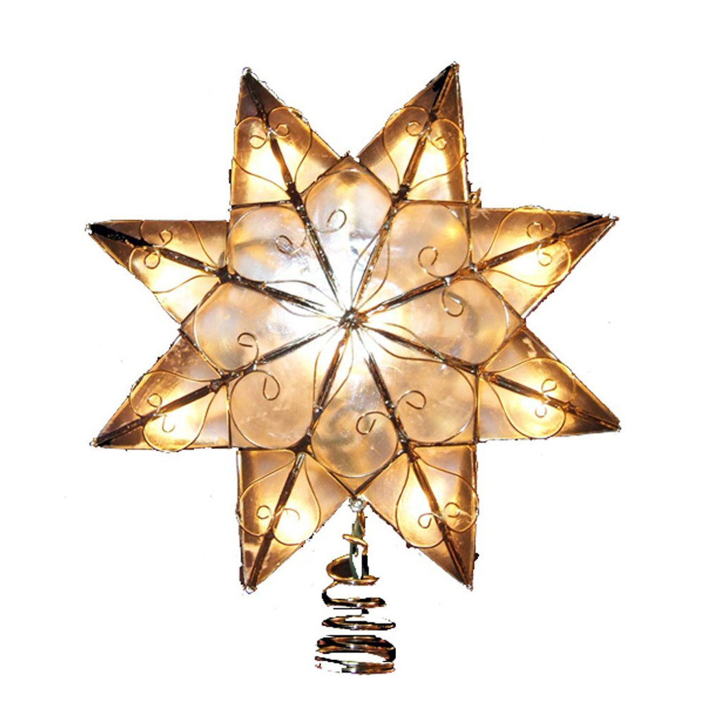 8 Point Capiz Star Treetop with Swirling Arabesque Golden Decoration