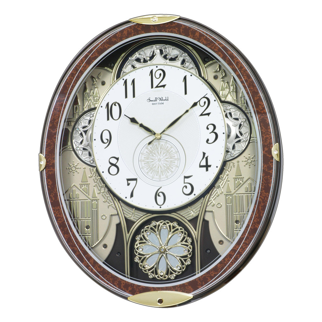 MUSICAL AND ANIMATED - GOLD AND CRYSTAL GALA- RHYTHM CLOCK  **FREE SHIPPING**