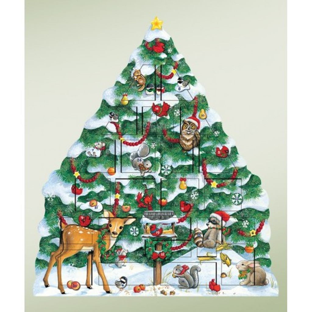 Byers' Choice Solid Wooden Snowy Tree Advent Calendar