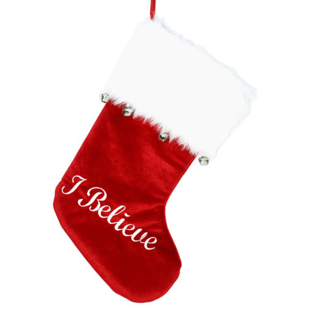 19 inch Red Velvet Christmas Stocking with White Fur Trim - I believe