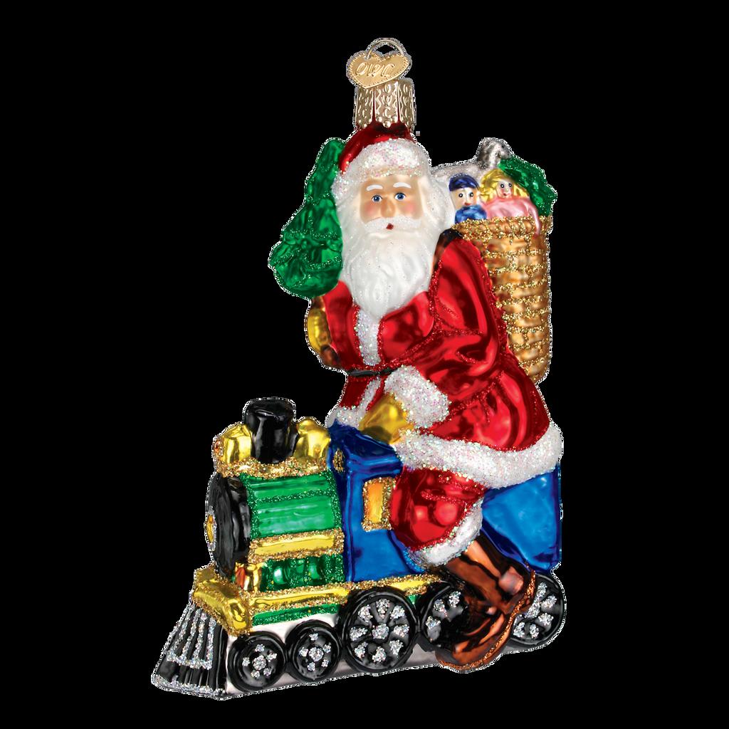 Old World Glass - Santa on Train Ornament