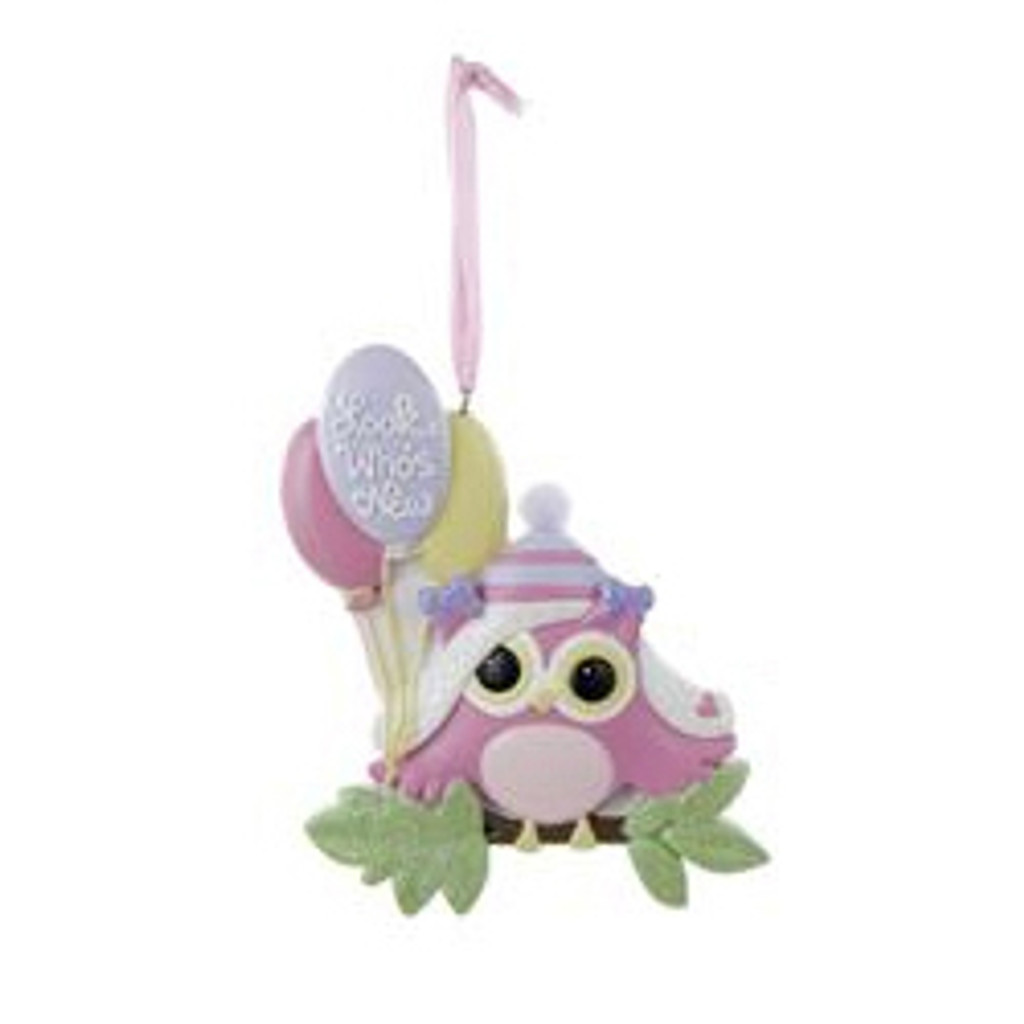 """Personalizable -  Baby's First - Pink """"LOOK WHO'S NEW"""" OWL ORNAMENT"""