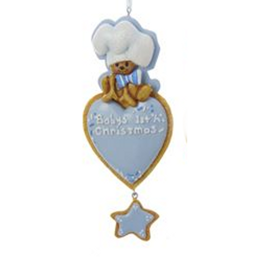 Personalizable -  Baby's First Christmas Gingerbread Heart Blue Ornament