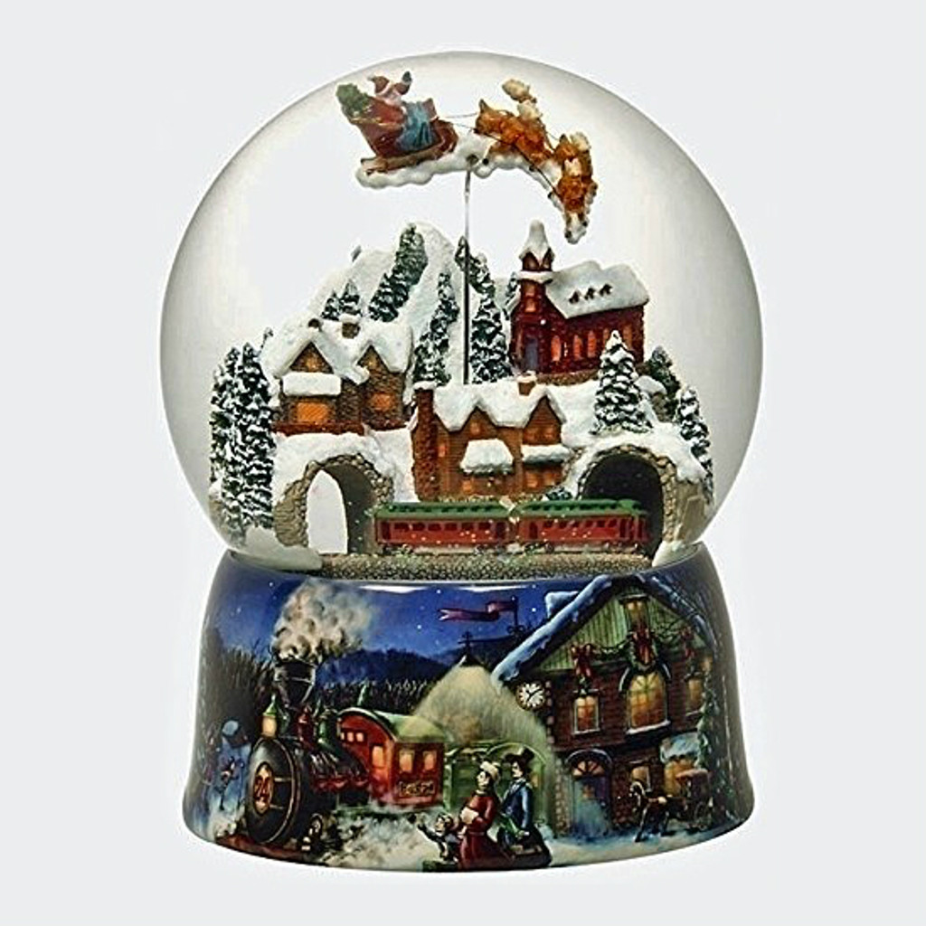 Village with Train Musical Snow Globe