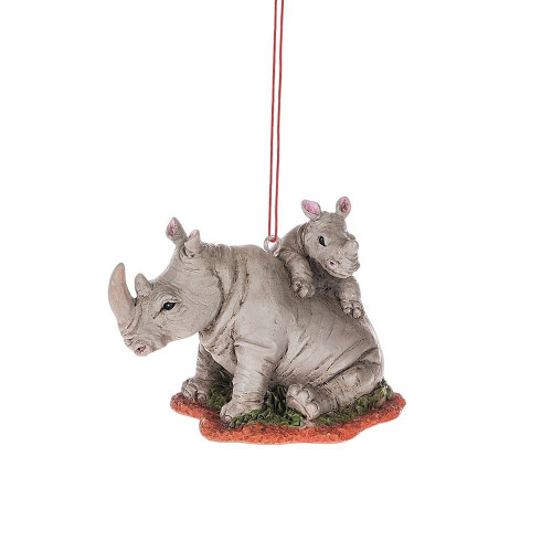 Mother Rhino with Baby Ornament