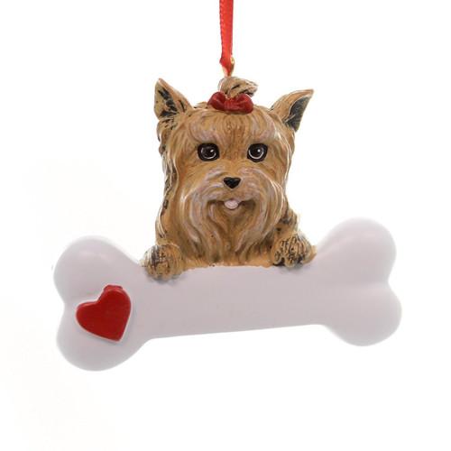 Personalizable -  Yorkie Dog Bone Ornament