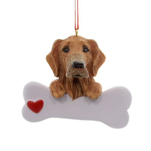 Personalizable -  Golden Retriever Dog Bone Ornament