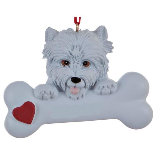 Personalizable -  Westie Dog Bone Ornament