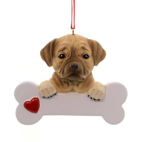 Personalizable -  Puggle Dog Bone Ornament
