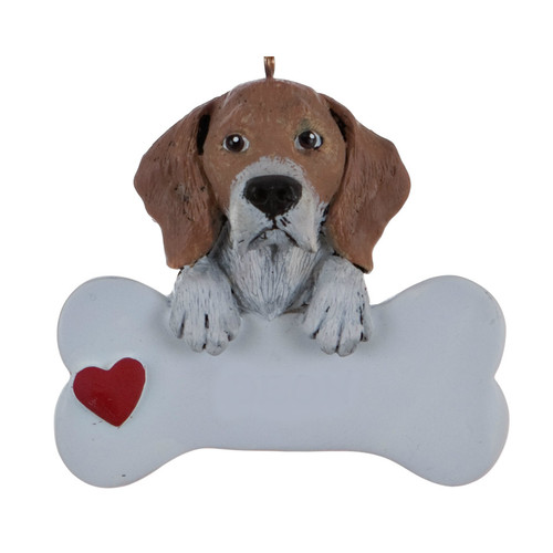 Personalizable -  Beagle Dog Bone Ornament
