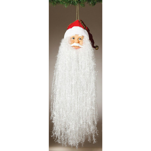 """18"""" Bearded Santa Head with Traditional Red Hat Ornament"""