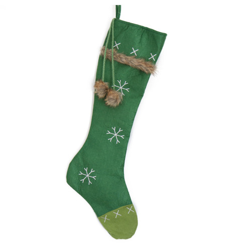 LONG GREEN CHRISTMAS STOCKING WITH EMBROIDERED WHITE SNOWFLAKE