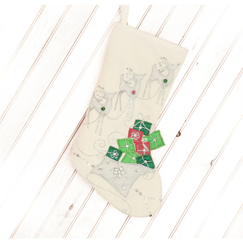 WHITE REINDEER CHRISTMAS STOCKING WITH JINGLE BELLS
