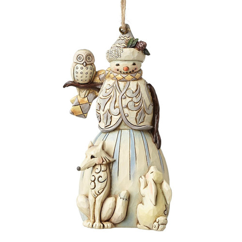 Jim Shore Heartwood Creek - White Woodland Snowman Ornament