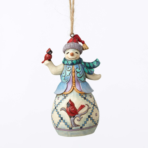 Jim Shore Heartwood Creek -  Snowman with Cardinal Ornament
